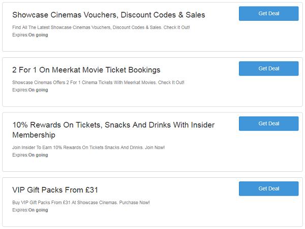 Showcase Cinemas vouchers