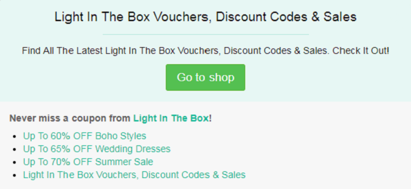 Light In The Box coupon