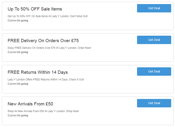 Lady V London discount codes