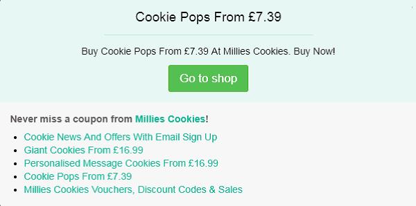 Millies Cookies voucher code