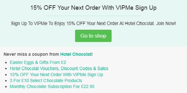 Hotel Chocolat discount vouchers