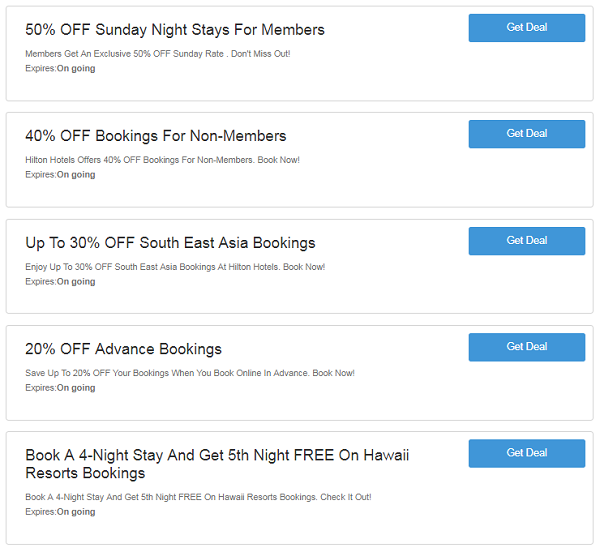 Hilton Hotels discount codes