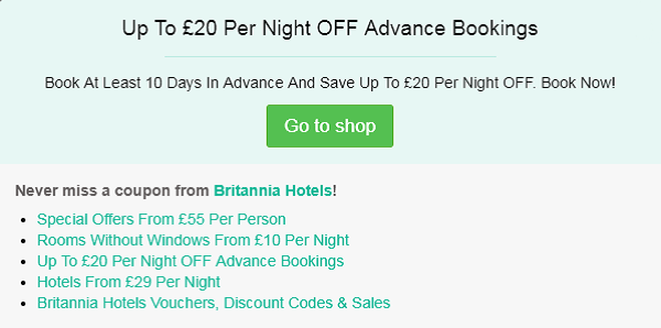 Britannia Hotels discount code