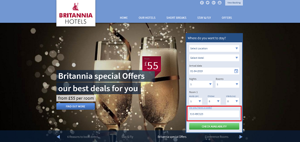 Britannia Hotels discount voucher
