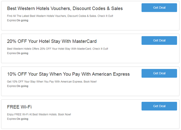 Best Western Hotels discount codes
