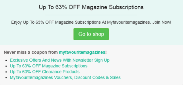 Myfavouritemagazines promo code