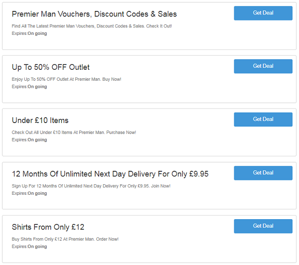 Premier Man Discount Code Voucher Codes Free Delivery 75