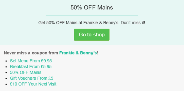 Frankie and Benny's voucher code
