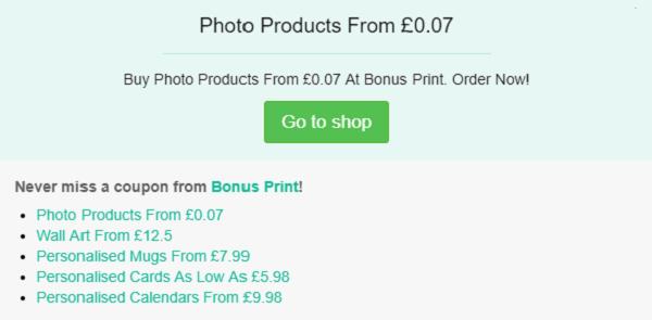 Bonus Print discount code