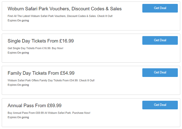 Woburn Safari Park vouchers