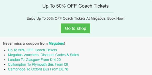 Megabus discount code