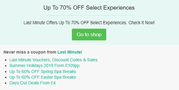 Last Minute discount code