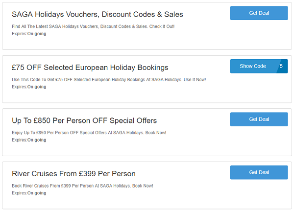 SAGA holidays discount codes