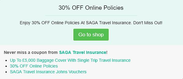 SAGA Travel Insurance discount code