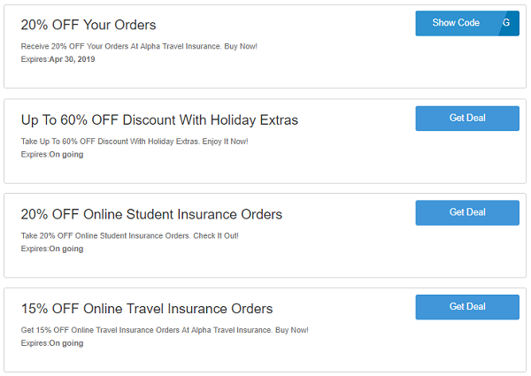 Alpha Travel Insurance promo codes