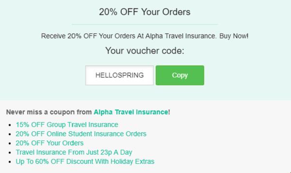 Alpha Travel Insurance promo code