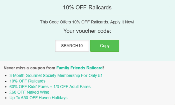 Family and Friends Railcard discount