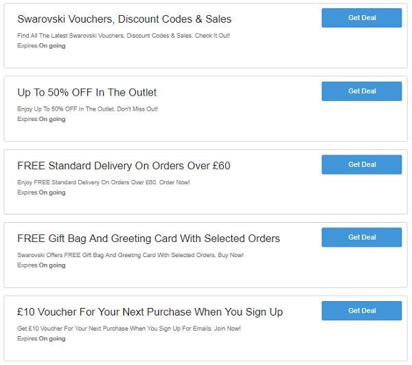 Swarovski discount codes
