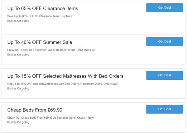 Bedroom World discount codes