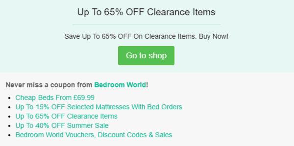 Bedroom World discount code