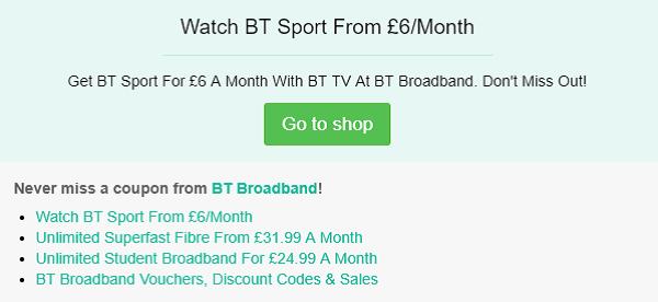 BT Broadband voucher code