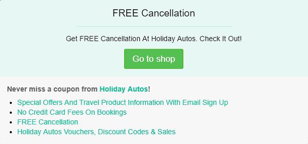 Holiday Autos discount code