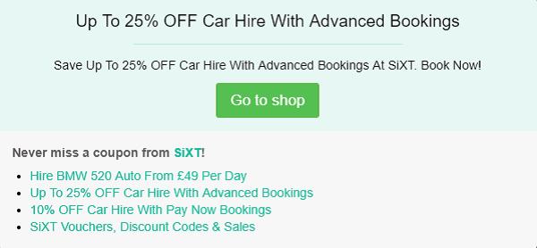 SiXT discount code