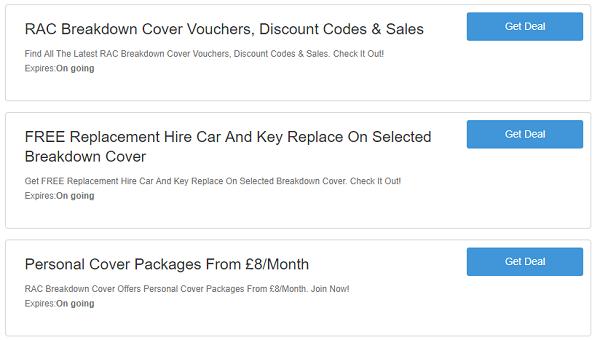 RAC Breakdown Cover discount codes