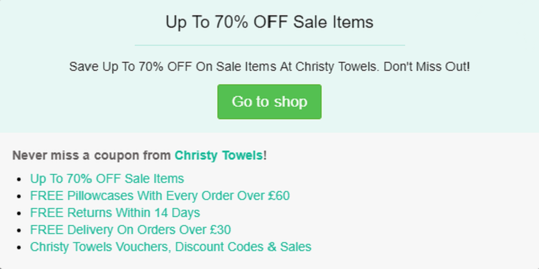 Christy Towels discount code