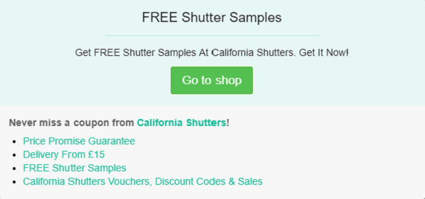 California Shutters discount code