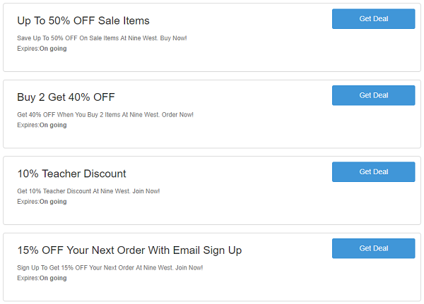Nine West discount codes