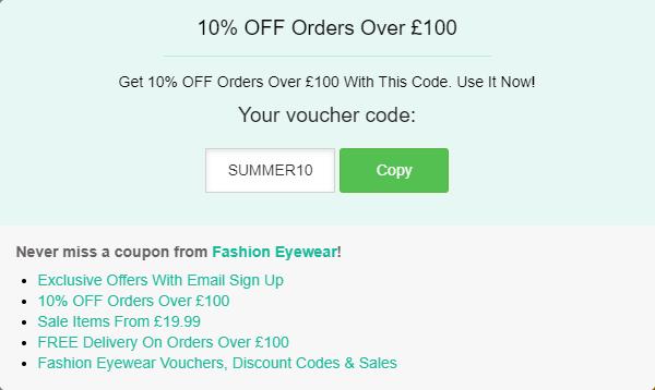 Fashion Eyewear discount code