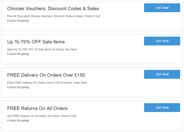 Choice discount codes