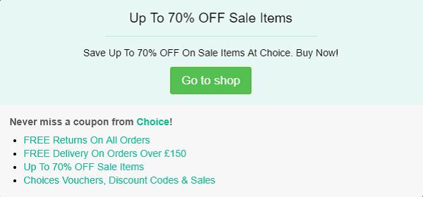 Choice discount code