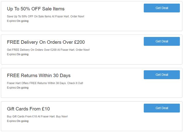 Fraser Hart discount codes