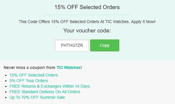 TIC Watches discount code