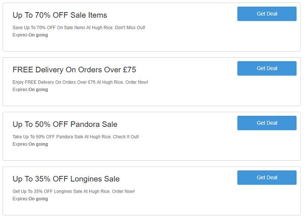 Hugh Rice discount codes