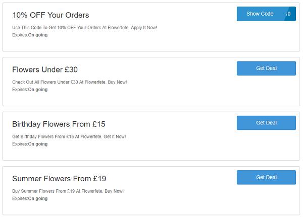 Flowerfete discount codes