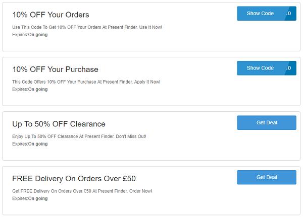 Present Finder discount codes