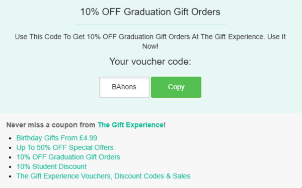 The Gift Experience discount code