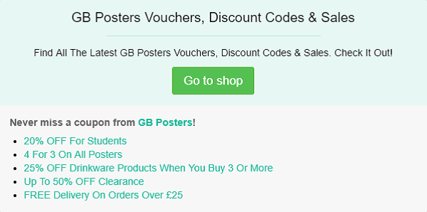 GB Posters discount code