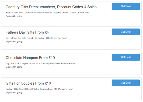 Cadbury Gifts Direct discount codes