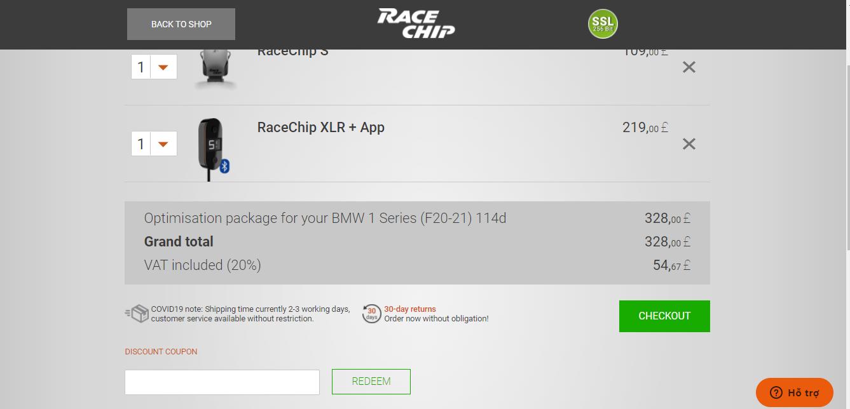 Racechip-enter-codes